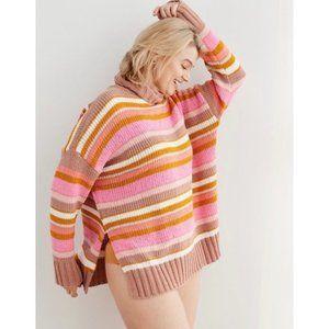 Aerie   Sunset Turtleneck Striped Pastel Sweater
